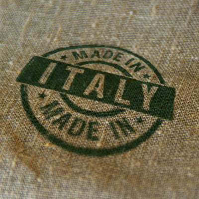 Made in Italy stamp printed on linen sack. Factory, manufacturing and production country concept.